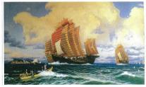 An oil painting of Zheng He's ship