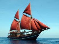 A Bugis pinisi ship, modern style